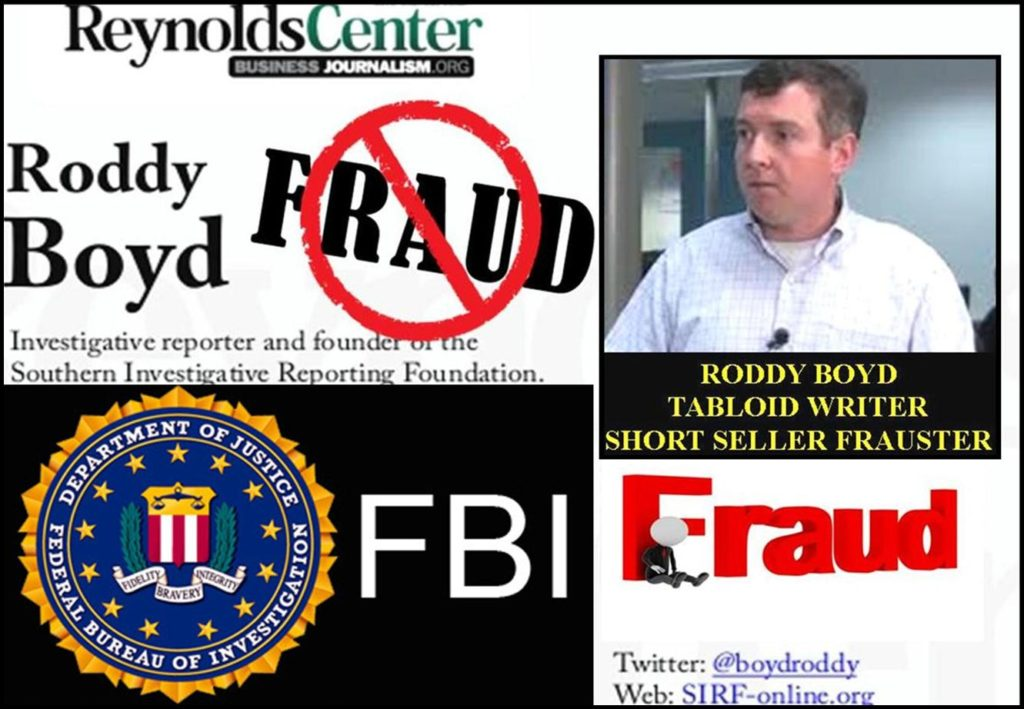 Fraud SOUTHERN INVESTIGATIVE REPORTING FOUNDATION, SIRF, RODDY BOYD in FBI Crossfire